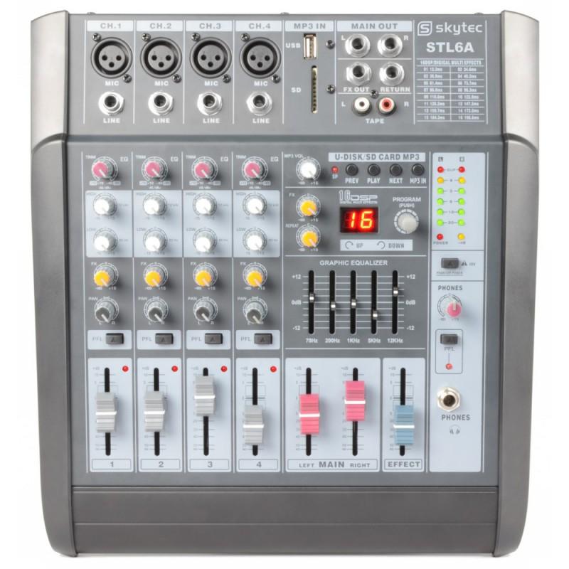 STL6A Mixer amplificat activ 2x240W RMS cu 6 canale, SD/USB/MP3 efecte DSP