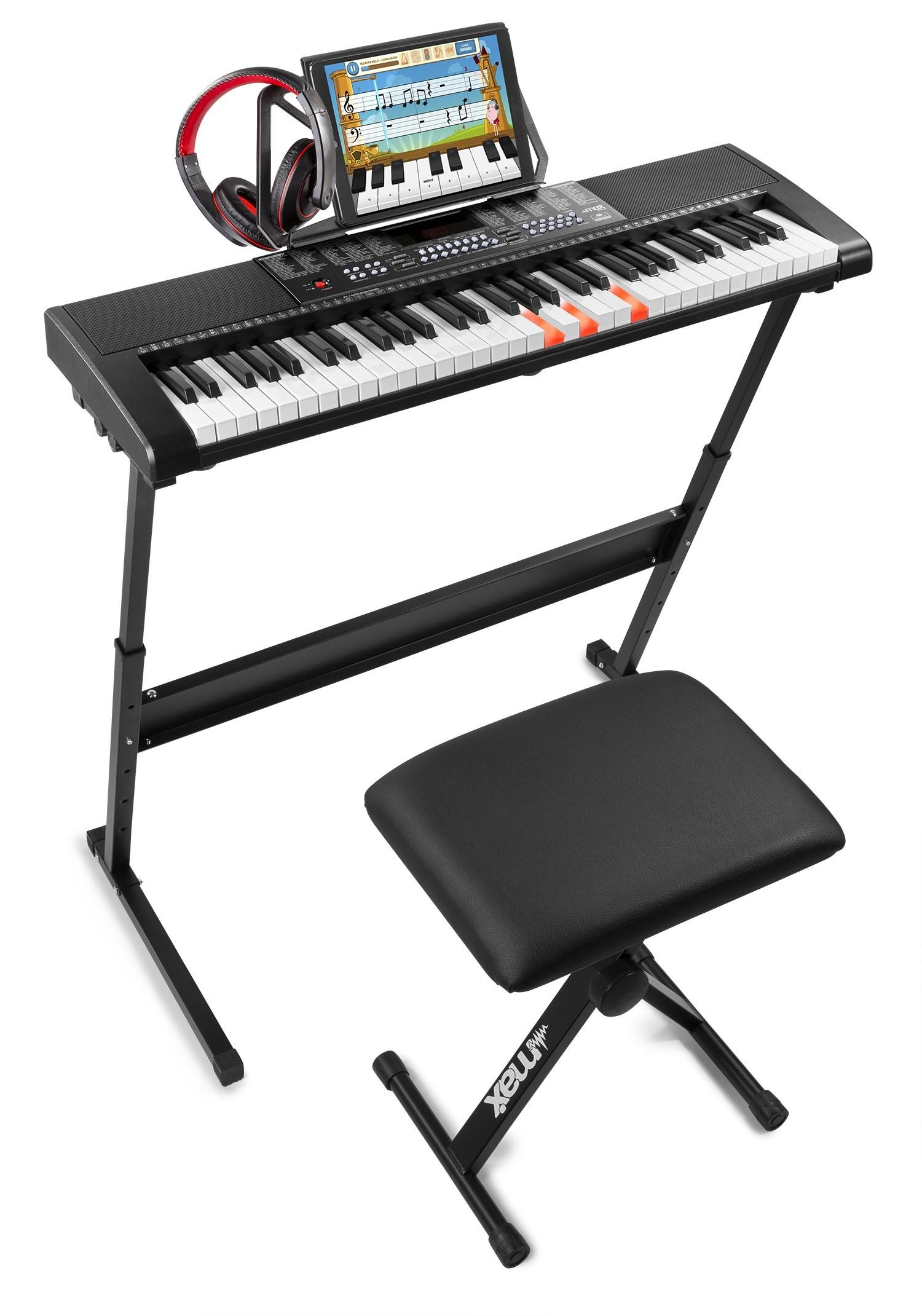 KB5SET Set claviatură electronică cu 61 de clape luminoase + suport clavitură+ scaun + căști audio, Max