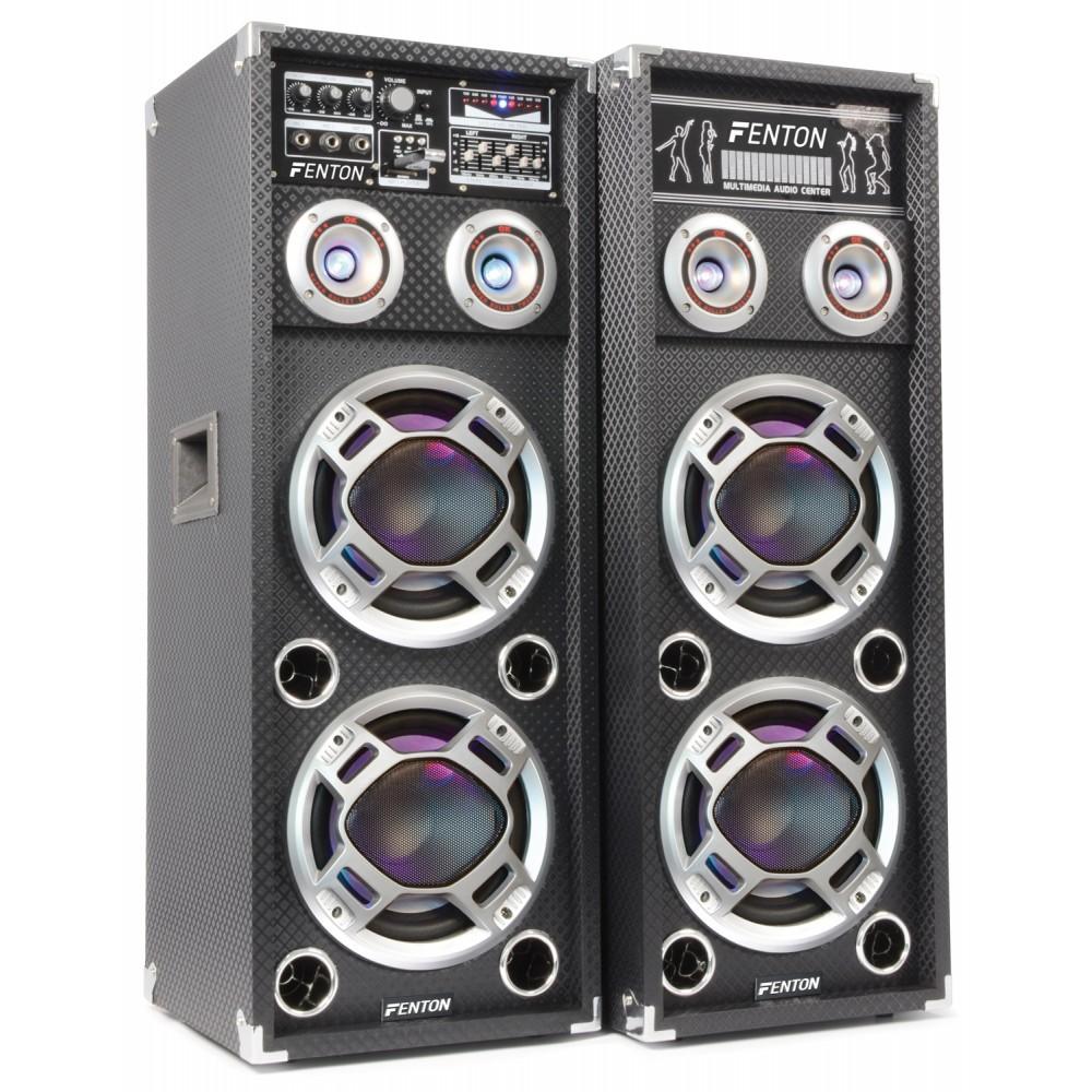 "Fenton Set boxa activa + pasiva karaoke 2x 8"" USB/RGB KA-28 (2x120W RMS)"