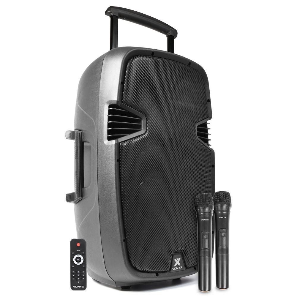"SPJ-PA915 Boxa activa portabila mobila 15"" cu 2x microfoane fara fir  cu USB/ Bluetooth"