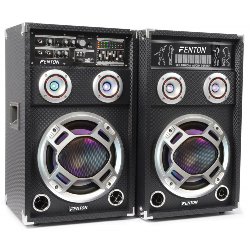 "Fenton Set boxa activa + pasiva karaoke 10"" USB/RGB KA-10 2x100W RMS"
