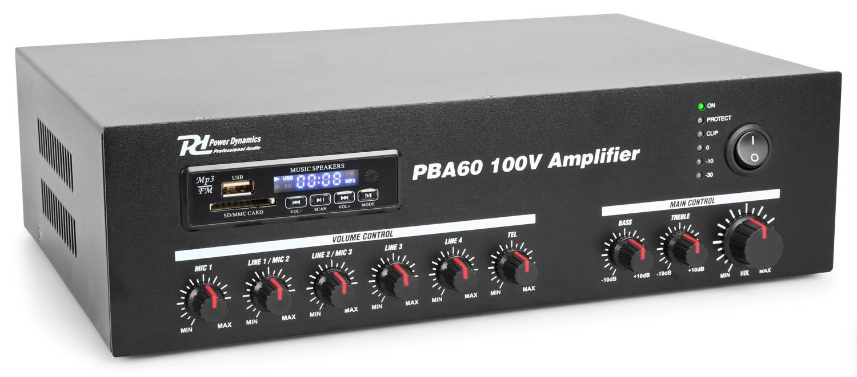 PBA60 Amplificator sonorizari linie 100V/8ohm 60W RMS Bluetooth Power Dynamics